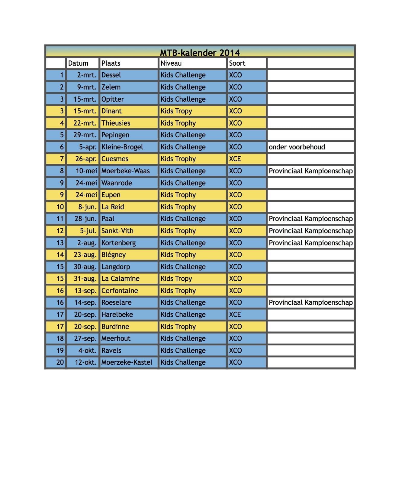 MTB Kalender 2014